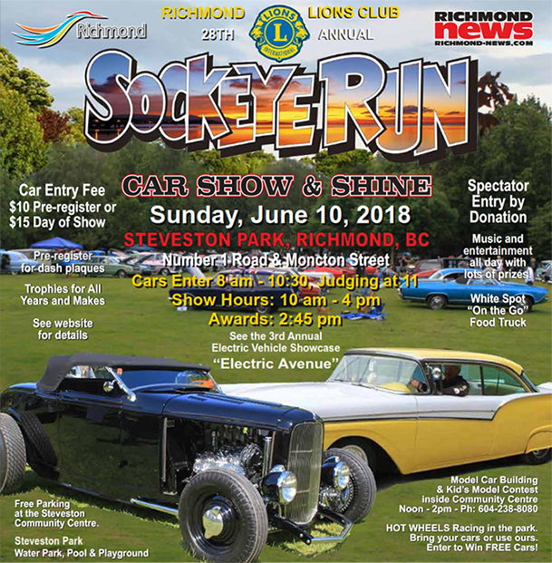 Sockeye Run Richmond Lions - Car show sponsorship levels